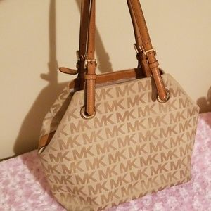 Michael kors signature leather trimmed tote